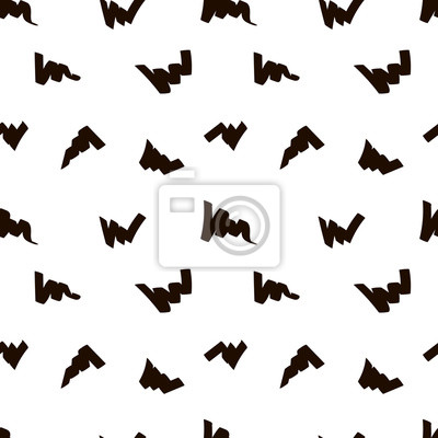 Marker strokes seamless pattern in black and white colors. Felt pen streaks hand drawn repeating texture. Abstract vector background