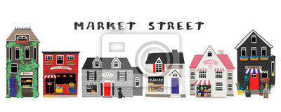 Market street. Bakery, flower shop, farm and candy shops, pet shop and book store. Big colored vector set. Every building is isolated