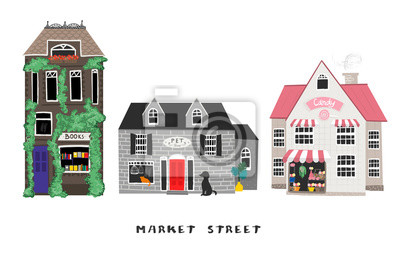 Market street. Candy shop, pet shop and book store. Colored vector set. Every building is isolated