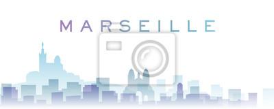 Marseille Transparent Layers Gradient Landmarks Skyline