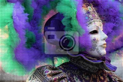 Maschera di donna colorata con Textur ein Mosaik