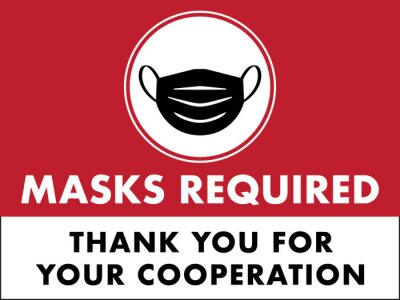 Sticker Masks Required Sign   Horizontal Window Signage for Restaurants and Retail Business   Face Mask Symbol