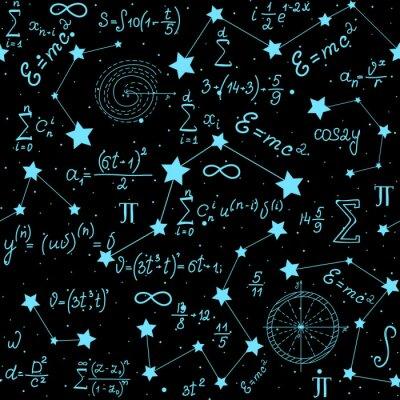 Sticker Mathematische astrophysikalische Vektor nahtlose Muster mit Formeln, Figuren und Berechnungen handschriftlich auf dem Hintergrund der Sterne. Wissenschaftlicher Raum endlose Textur