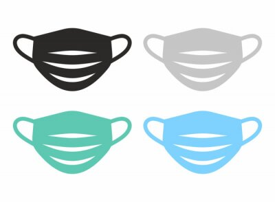 Sticker Medical face mask icon set. Vector icon isolated on white background.