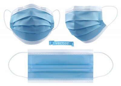 Sticker Medical mask, surgical mask, virus and infection protection. 3d realistic vector objects