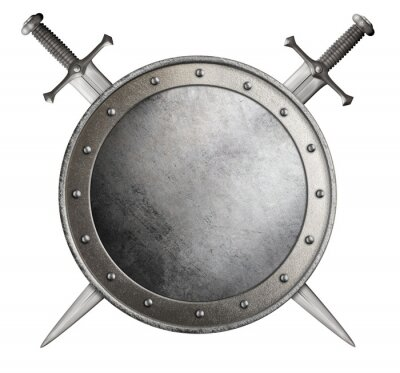 Sticker medieval round shield and crossed swords isolated 3d illustration