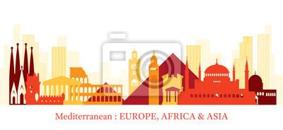 Sticker Mediterranean Skyline Landmarks Colorful Silhouette