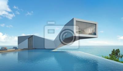 Meerblick haus mit pool im modernen design, abstract gebäude ...