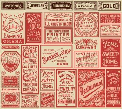 Sticker Mega Pack Retro-Werbung Designs und Etiketten - Vector illust