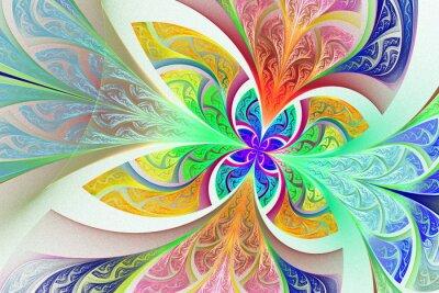 Sticker Mehrfarbige Fraktal Blume oder Schmetterling Hintergrund in gebeizt-g