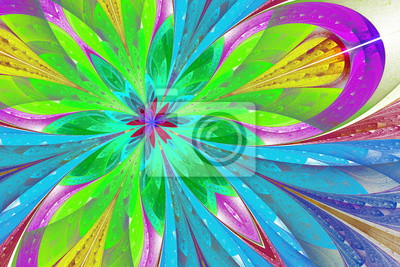 Mehrfarbige Fraktal-Blume oder Schmetterling in Buntglasfenster