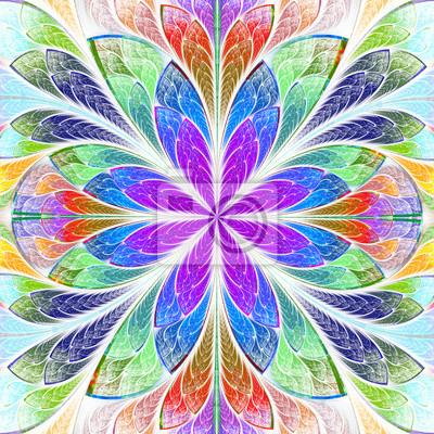 Mehrfarbige symmetrische Fraktal Blume in Glasfenster