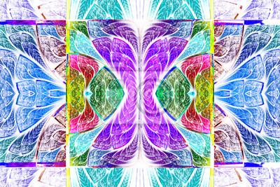 Mehrfarbige symmetrische geometrische Muster in Buntglas-Stil