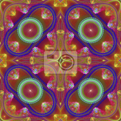 Sticker Mehrfarbige symmetrische Gitter fraktale Muster. Computer generieren