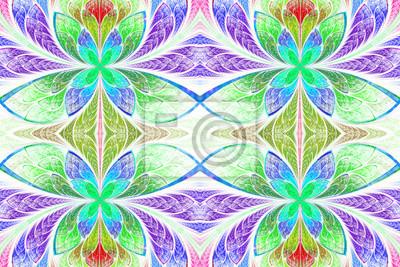 Mehrfarbige symmetrische Muster in Buntglasfenster Stil.