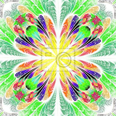 Mehrfarbige symmetrischen fraktalen Blume in Glasmalerei