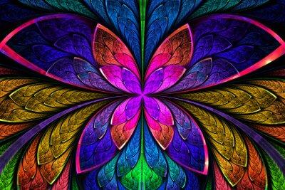 Sticker Mehrfarbige symmetrischen fraktalen Muster als Blume oder Schmetterling