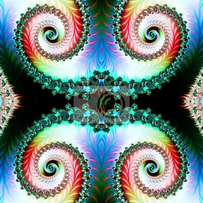 Mehrfarbiger Hintergrund mit gewundenem Muster.