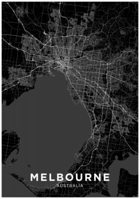 Melbourne (Australia) city map. Black and white poster with map of Melbourne. Scheme of streets and roads of Melbourne.