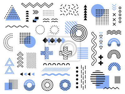 Sticker Memphis design elements. Retro funky graphic, 90s trends designs and vintage geometric print illustration element vector collection