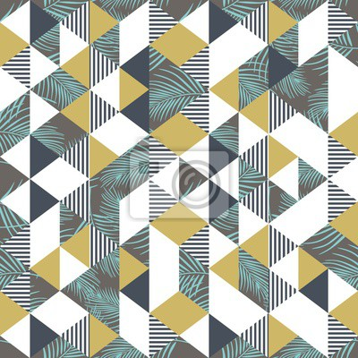 Memphis geometric palm leaves and triangle pattern