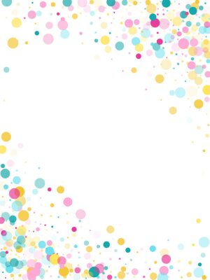 Sticker Memphis round confetti festive background in cyan blue, pink and yellow. Childish pattern vector.