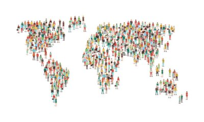 Sticker Menge von Menschen, die eine Weltkarte
