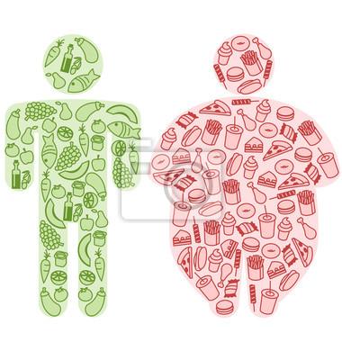 Menschliche Figuren und gesunde und fetthaltige Nahrung