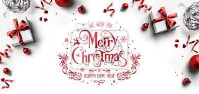 Sticker Merry Christmas and New Year text on white background with gift boxes, ribbons, red decoration, bokeh, sparkles and confetti. Xmas greeting card, bokeh, light. Flat lay, top view