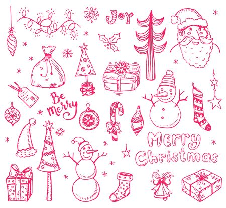 Merry Christmas funny doodle set with holidays sings and symbols.