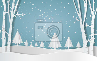 Sticker Merry christmas,Snow forest. pines in winter and mountain Paper vector Illustration