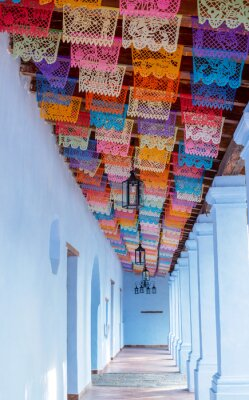 Sticker mexican colonial beautiful aisle antique decorated paper colored flags old traditional