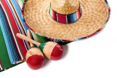 Sticker Mexican Decke und Sombrero