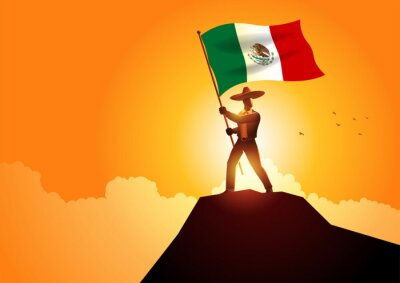 Sticker Mexican man in sombrero and traditional costume holding the flag of Mexico on mountain peak