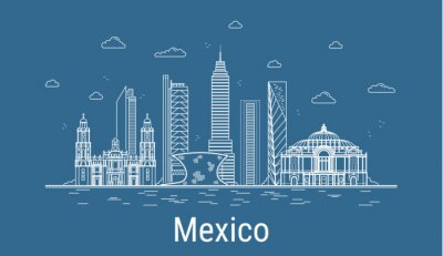 Mexico city, Line Art Vector illustration with all famous towers. Linear Banner with Showplace, Skyscrapers and hotels. Composition of Modern buildings, Cityscape. Mexico buildings set.
