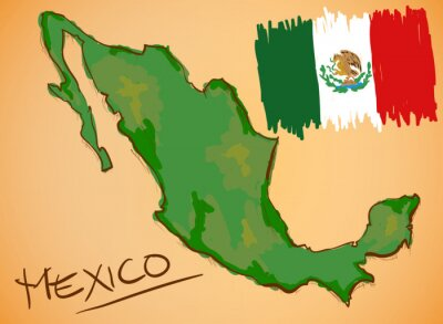 Sticker Mexico Map and National Flag Vector