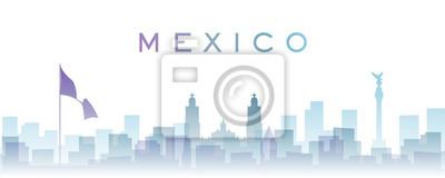 Mexico Transparent Layers Gradient Landmarks Skyline