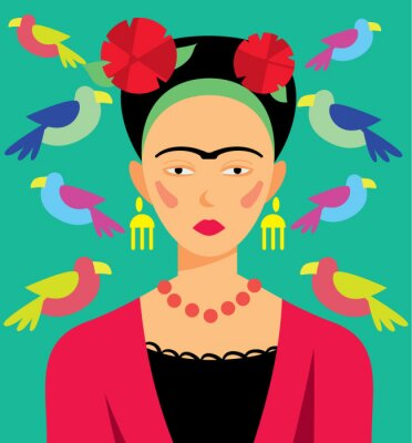 Sticker Mexikanische Frau in Make-up, Vektor-Illustration. Zeichentrickfiguren.