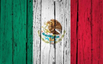 Sticker Mexiko-Flagge Grunge Hintergrund