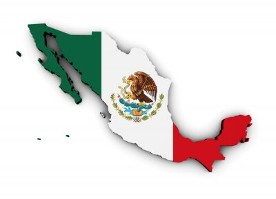 Sticker Mexiko-Flaggen-Karte