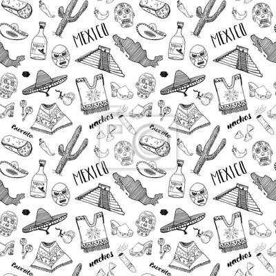 Mexiko nahtlose muster gekritzel elemente, hand gezeichnet