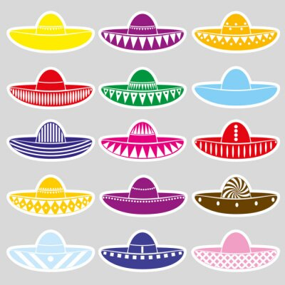 Sticker Mexiko Sombrero Hut Variationen Aufkleber Set eps10