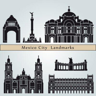 Sticker Mexiko-Stadt Sehenswürdigkeiten und Monumente