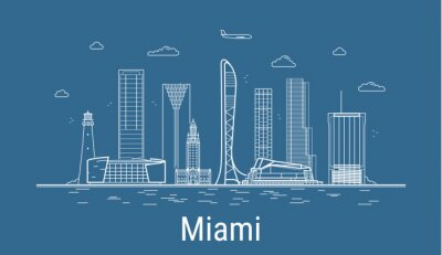 Miami city, Line Art Vector illustration with all famous buildings. Linear Banner with Showplace. Composition of Modern buildings, Cityscape. Miami buildings set.
