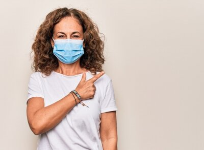 Sticker Middle age woman wearing coronavirus protection mask for covid-19 epidemic virus smiling cheerful pointing with hand and finger up to the side