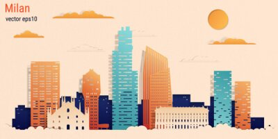 Milan city colorful paper cut style, vector stock illustration. Cityscape with all famous buildings. Skyline Milan city composition for design.