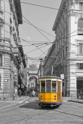 Sticker Milano con tram in piazza cordusio e sfondo galleria vittorio emanuele lombardy italy