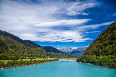Sticker Milky blauen glazialen Wasser von Whataroa River in Neuseeland