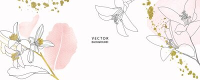 Sticker minimal background in pink flowers and tropical summer leaf with golden metallic texture gallery wall art vector design in frame for home decorate