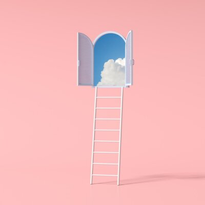 Sticker Minimal conceptual scene of blue sky in an arch window and ladder on pink background. 3D rendering.